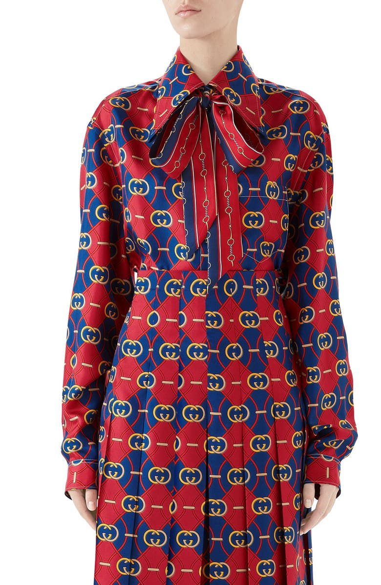 GUCCI GG Waves Print Silk Twill Bow Blouse, Main, color, SPICE BLUE/ FLAME PRINT