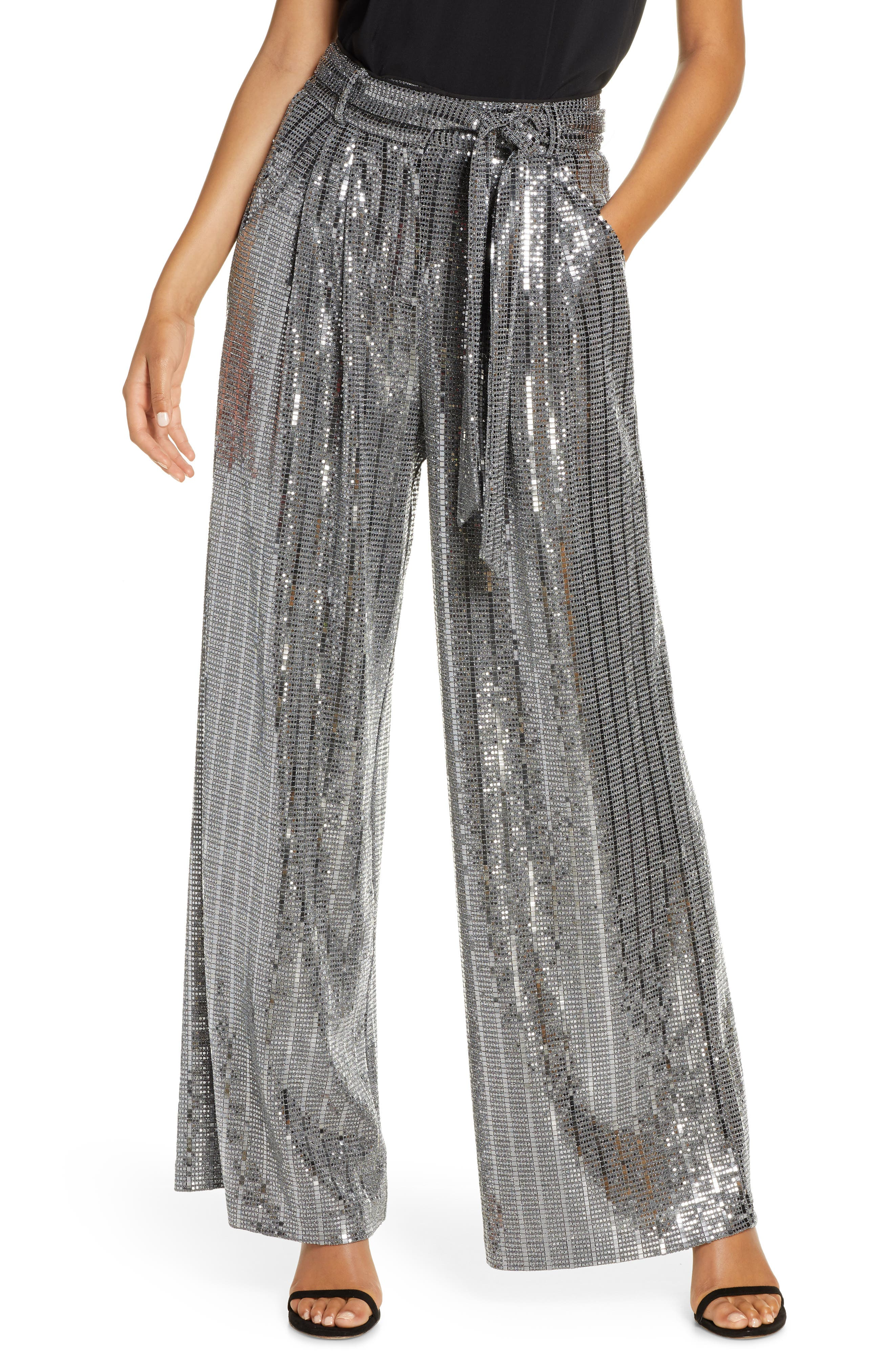 Vintage High Waisted Trousers, Sailor Pants, Jeans Womens Eliza J Wide Leg Sequin Pants $188.00 AT vintagedancer.com