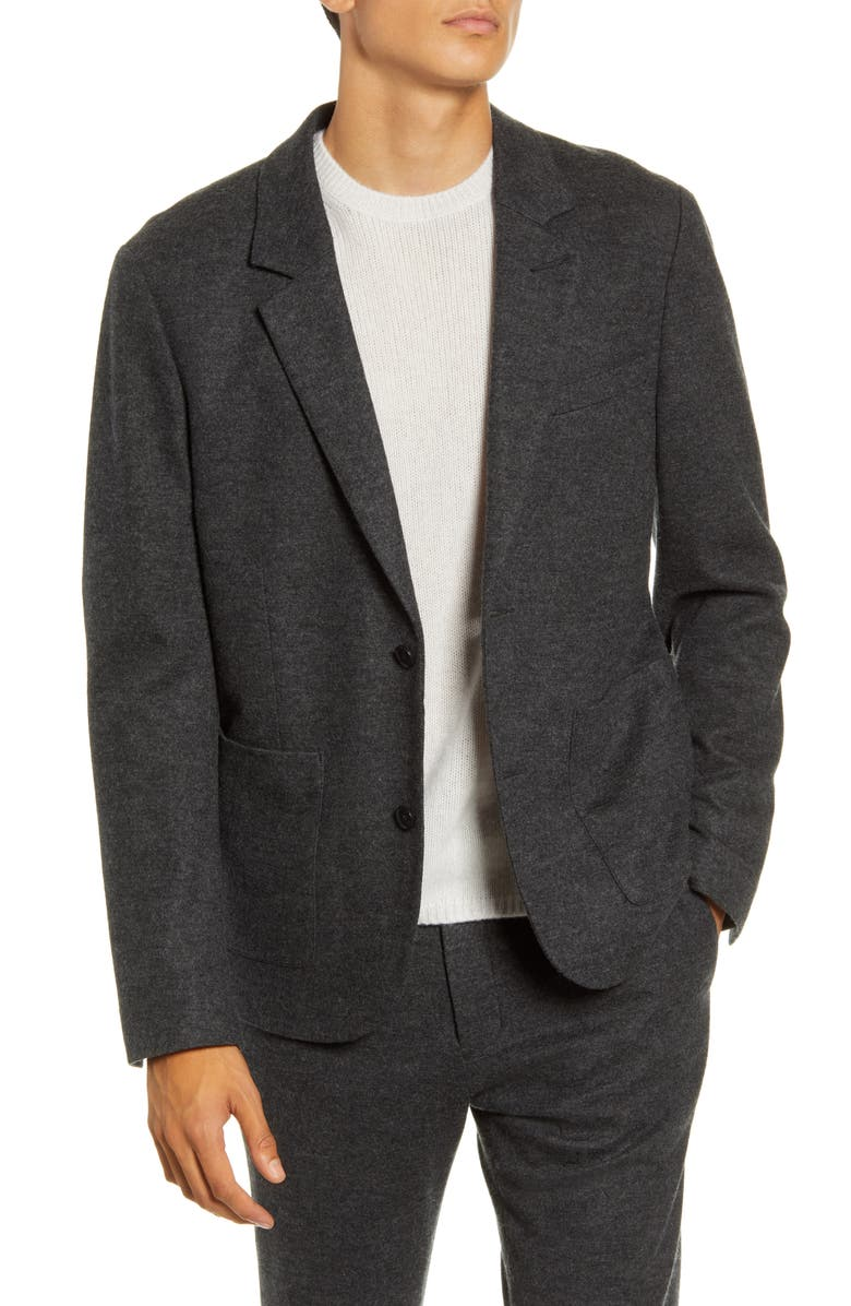 VINCE Slim Fit Heathered Wool Blend Sport Coat, Main, color, HEATHERED CHARCOAL