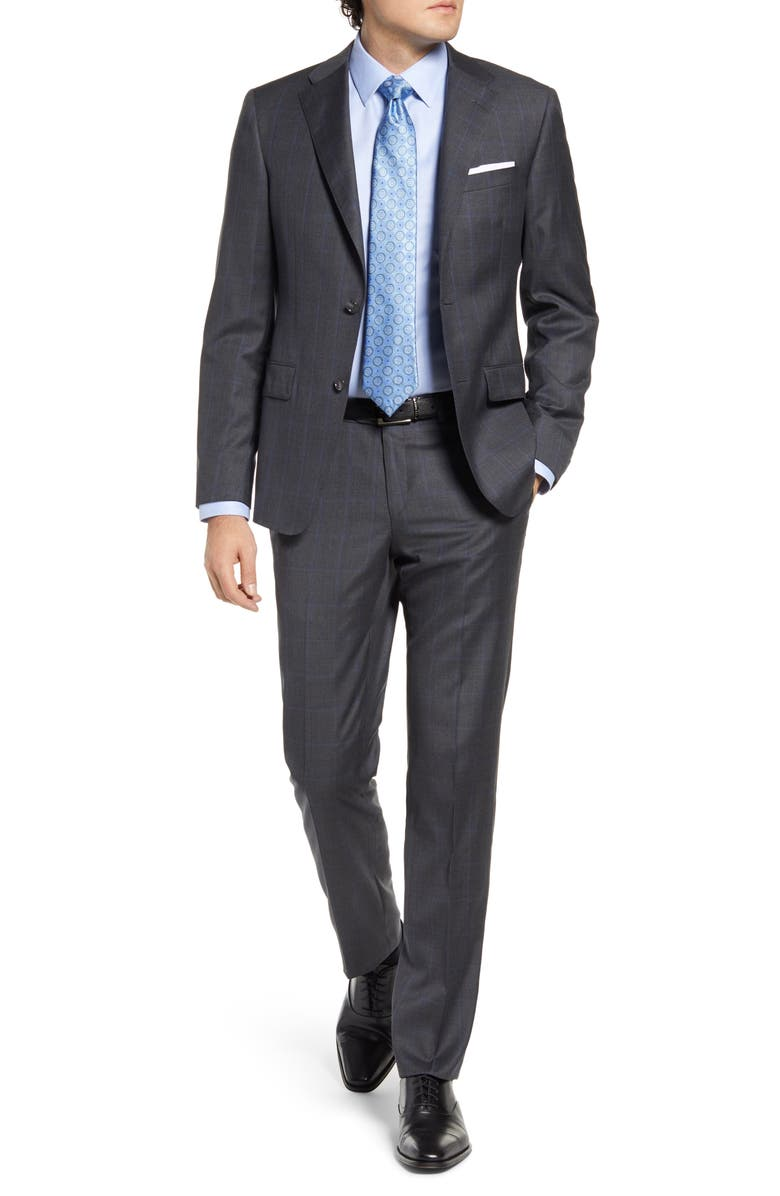 HICKEY FREEMAN Classic Fit Windowpane Wool Suit, Main, color, 020