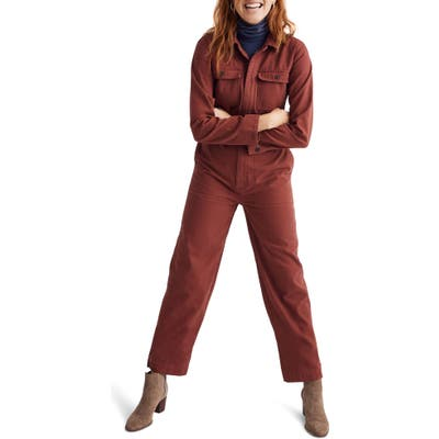Madewell Straight Leg Coverall Jumpsuit, Burgundy