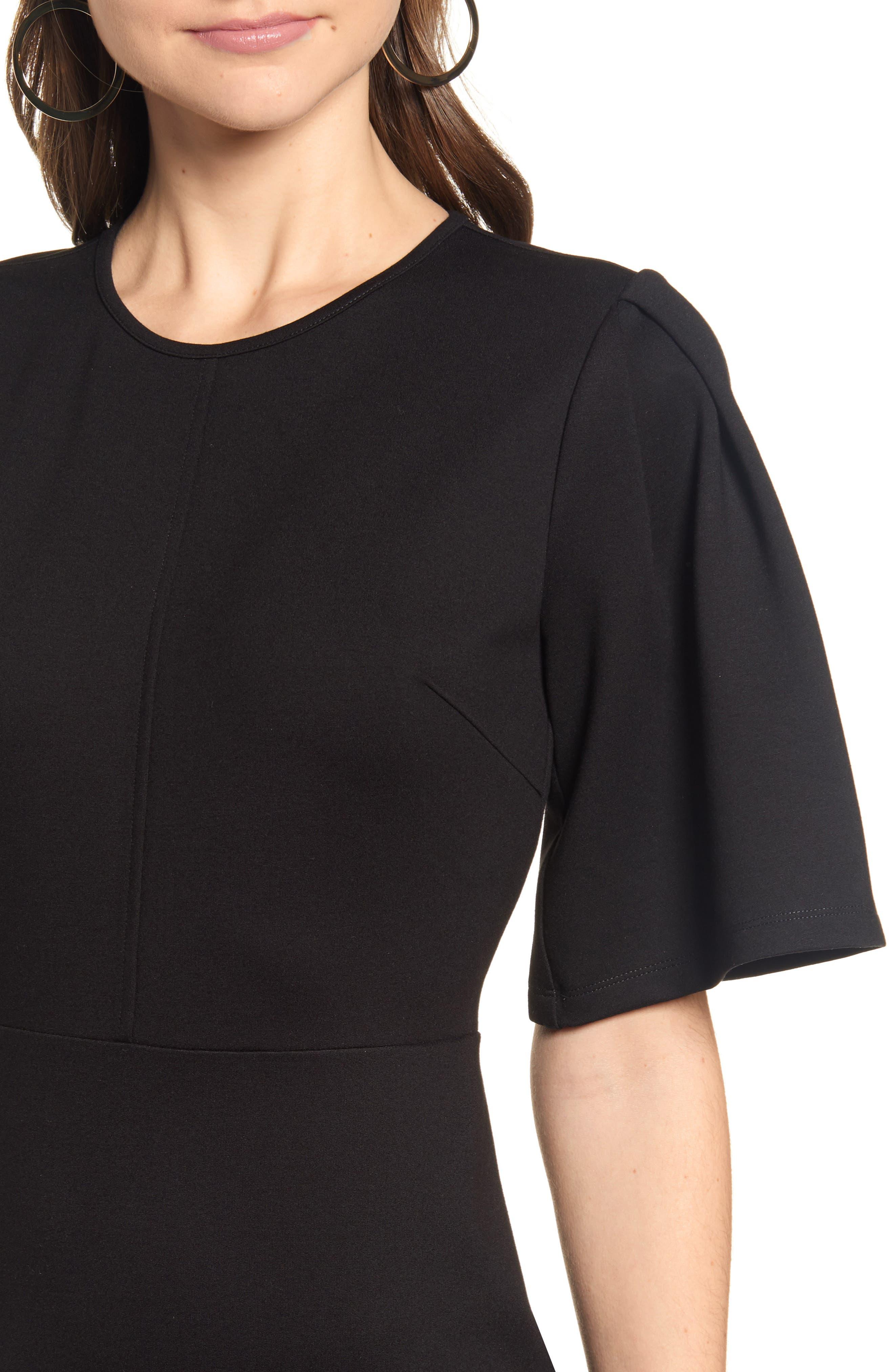 ,                             Flutter Sleeve Ponte Dress,                             Alternate thumbnail 5, color,                             BLACK