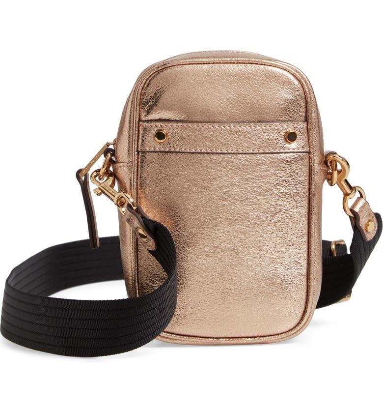 TREASURE & BOND Murphy Metallic Leather Crossbody Bag, Main, color, ROSE GOLD