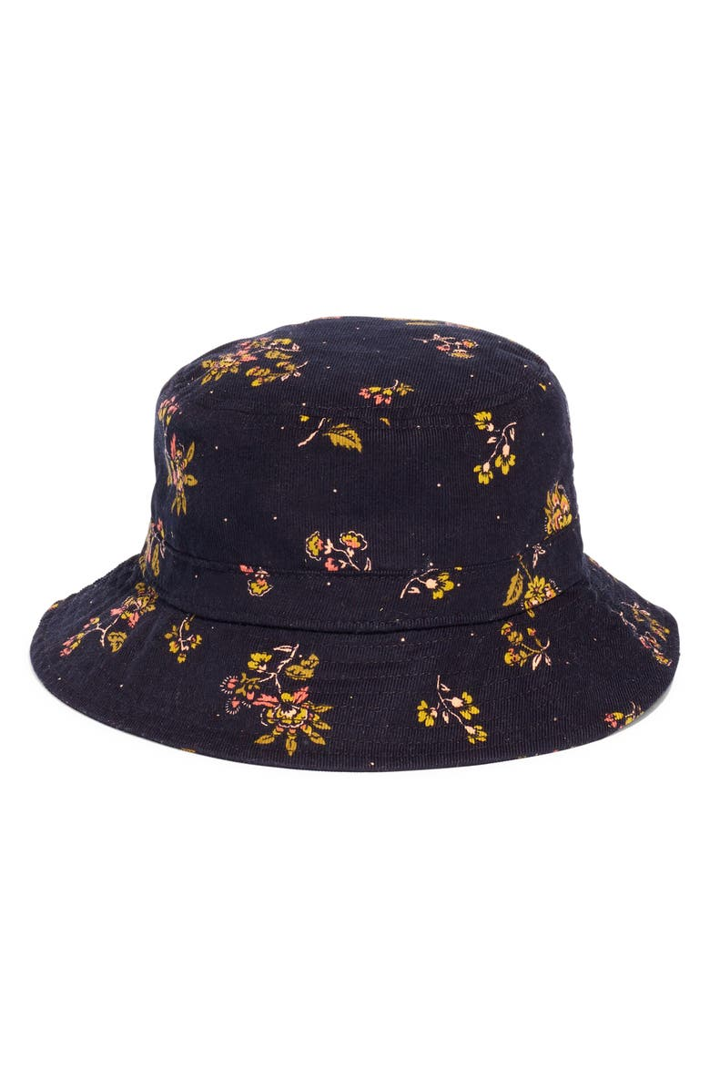 MADEWELL Forest Floral Short Brimmed Corduroy Bucket Hat, Main, color, CORD FLORAL TRUE BLACK