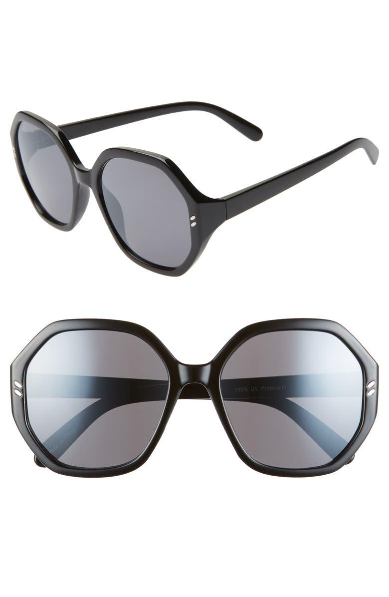 BP. 55mm Octagon Sunglasses, Main, color, BLACK