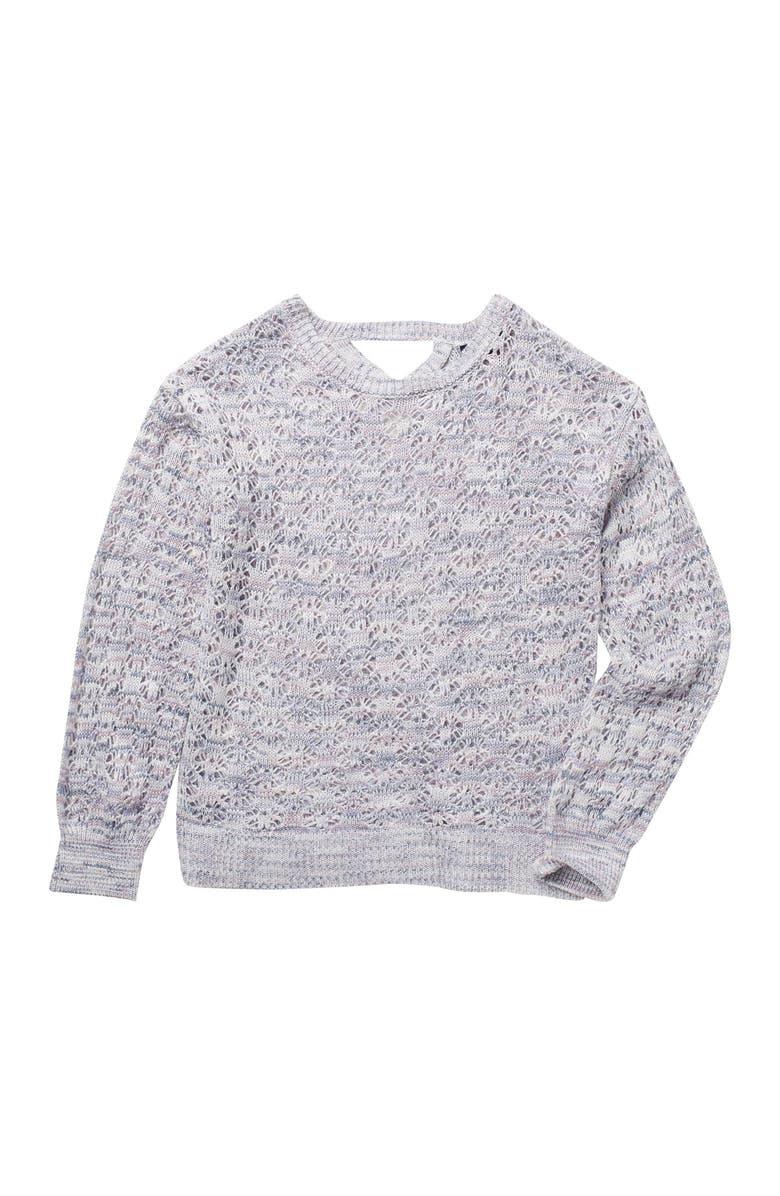 FRESHMAN Crossback Woven Sweater, Main, color, LAVENDER