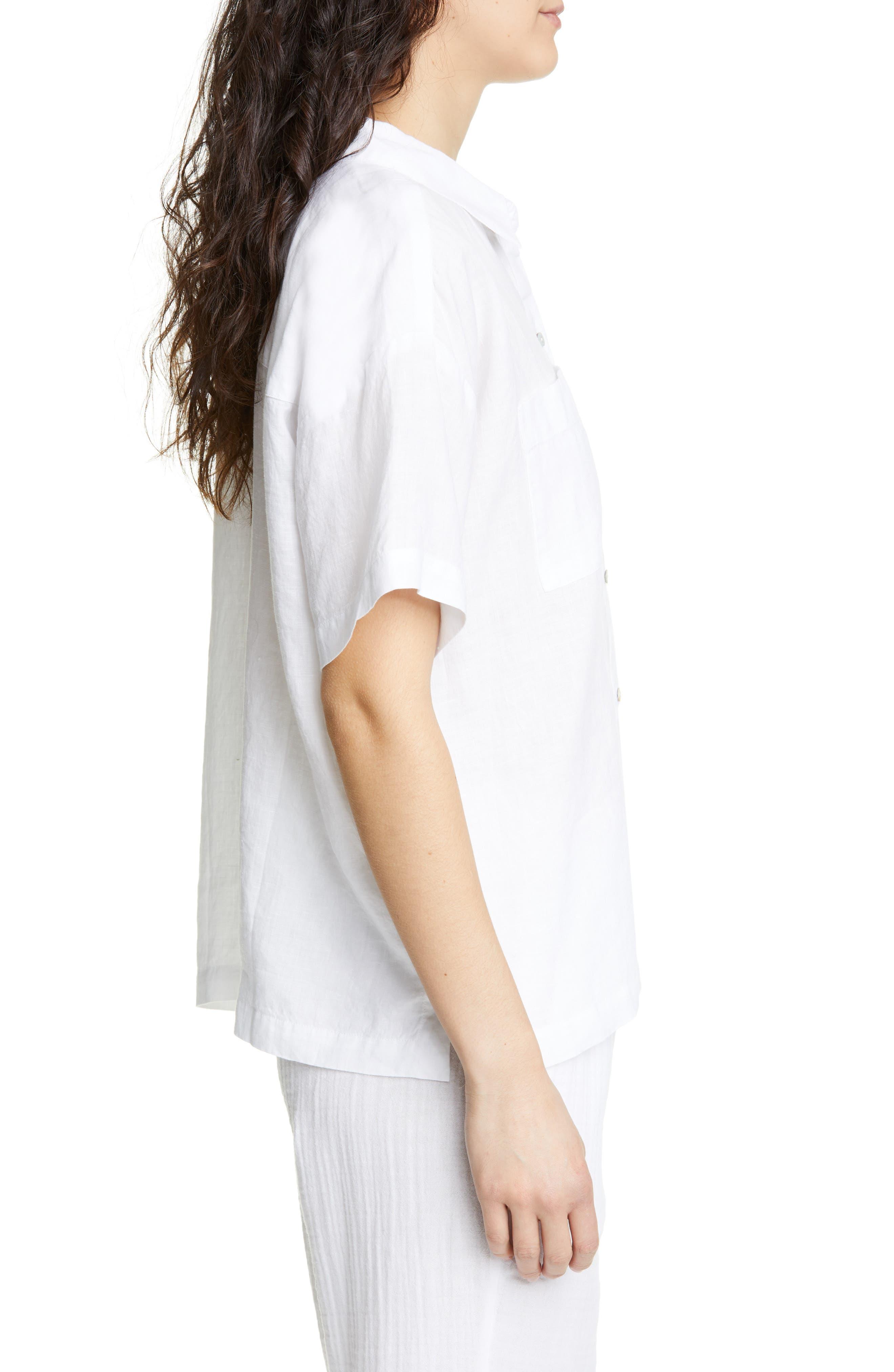 ,                             Organic Linen Shirt,                             Alternate thumbnail 3, color,                             WHITE