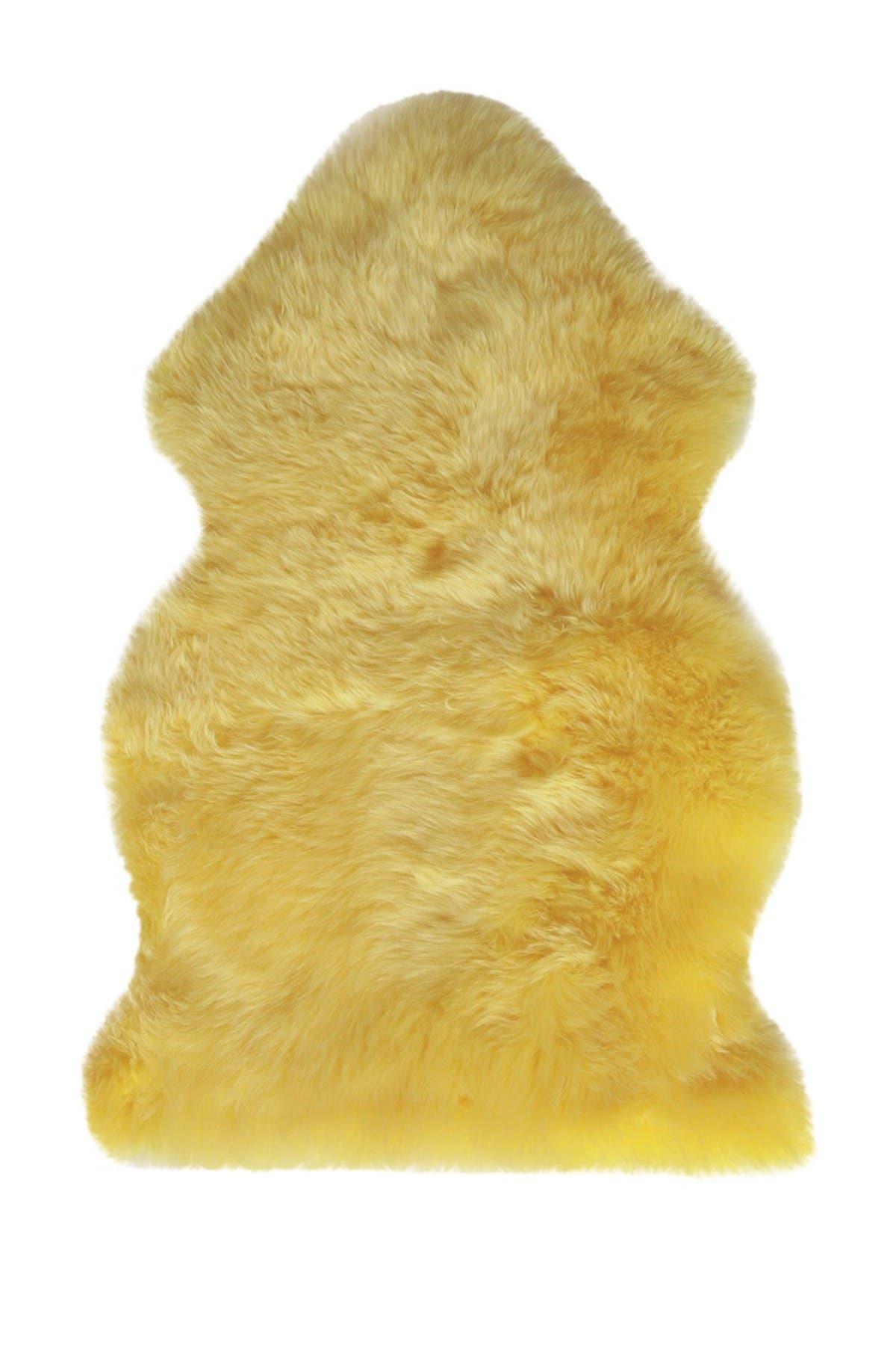 Image of Natural Milan Genuine Sheep Shearling Single Sheepskin Rug - 2ft x 3ft - Canary