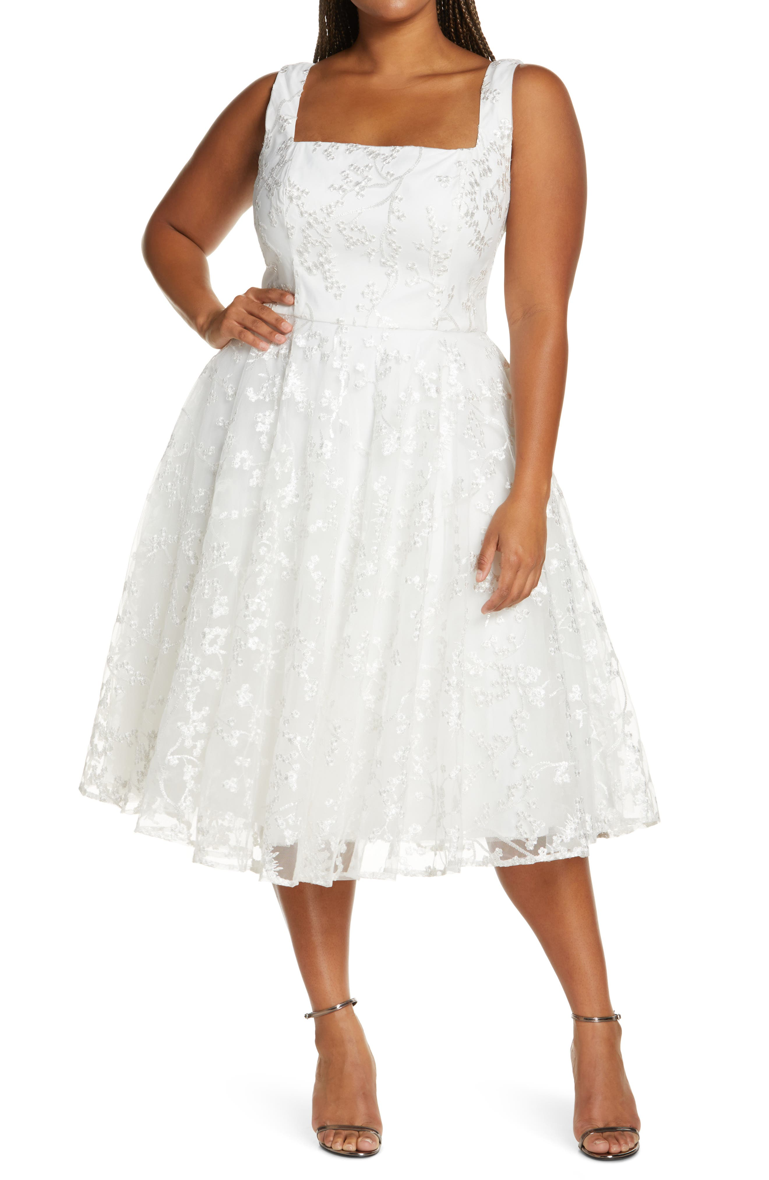 Square Neck Lace Fit & Flare Dress