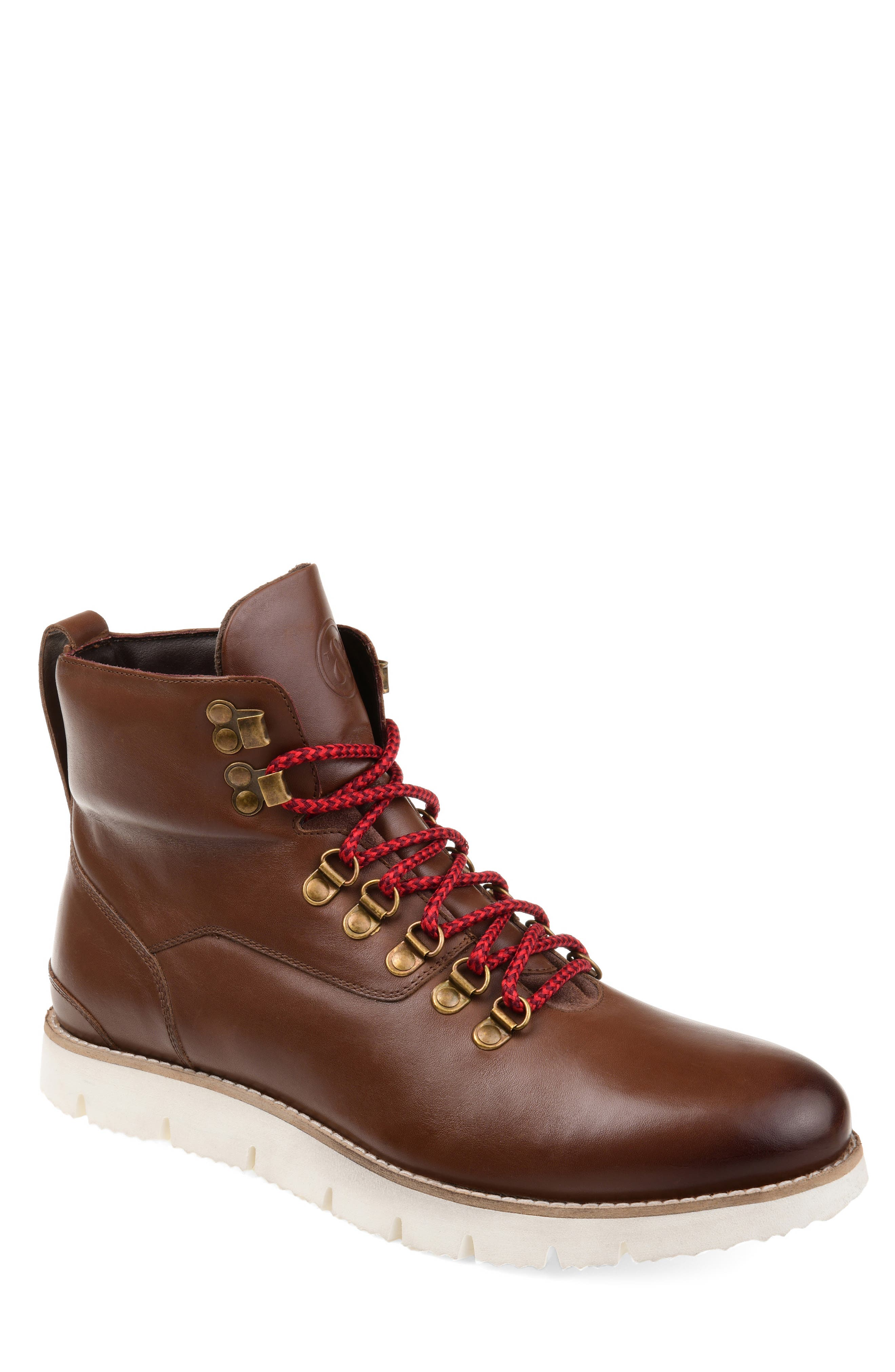 Color-pop lacing ladders up the front of a burnished plain-toe boot outfitted with a padded cuff and an articulated white sole. Style Name: Thomas & Vine Siege Boot (Men). Style Number: 5715635 1. Available in stores.