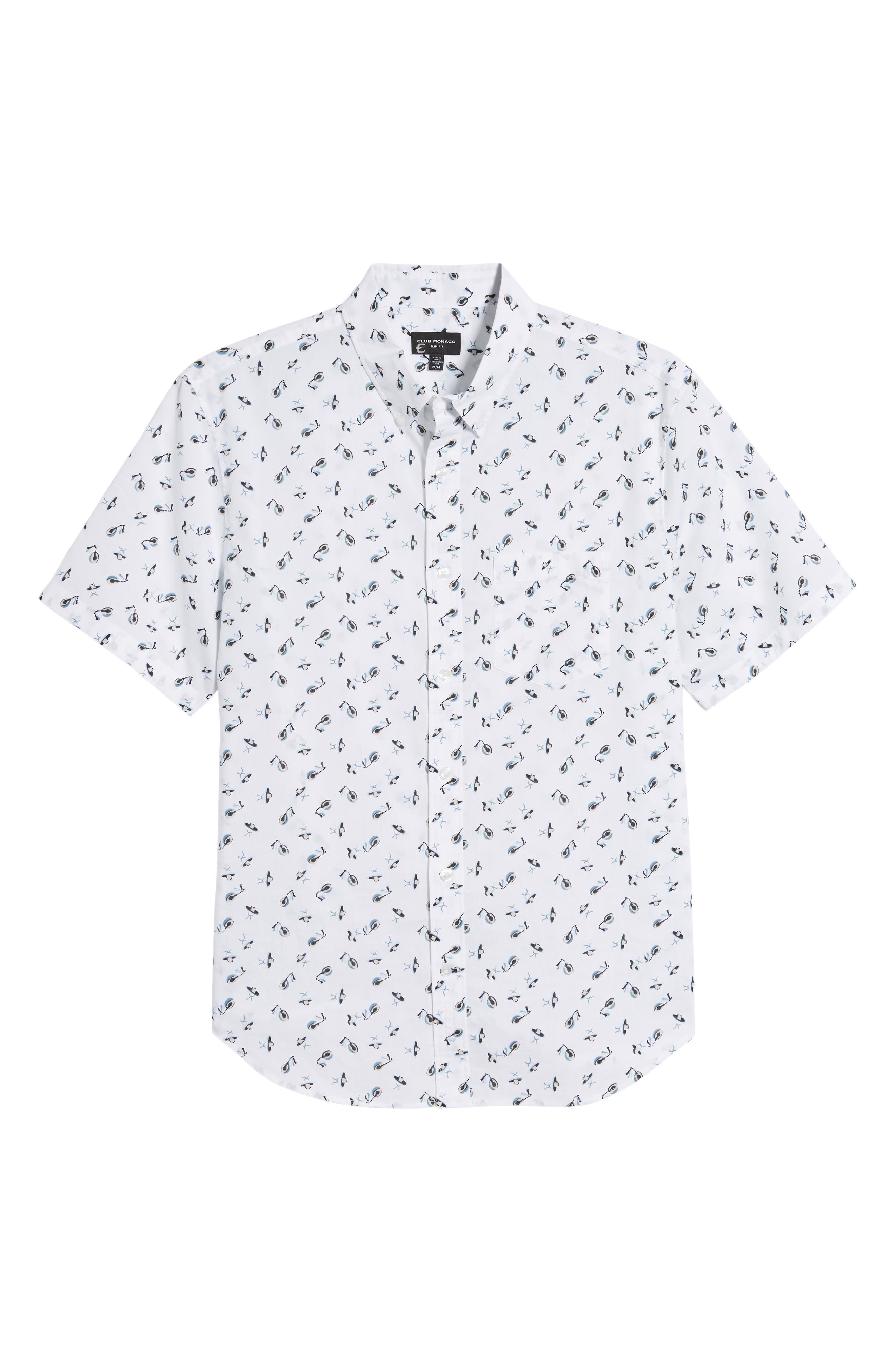 ,                             Slim Fit Sombrero Print Sport Shirt,                             Alternate thumbnail 5, color,                             WHITE MULTI