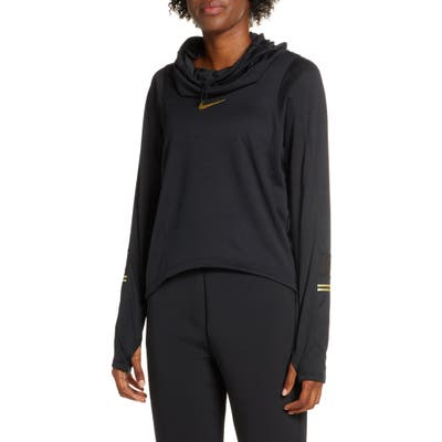 Nike Glam Midlayer Funnel Neck Hoodie, Black