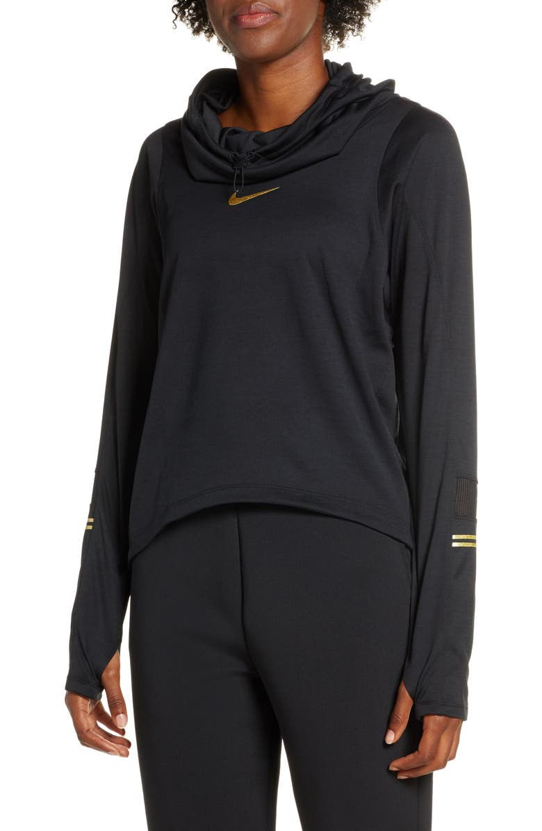 NIKE Glam Midlayer Funnel Neck Hoodie, Main, color, BLACK/ METALLIC GOLD