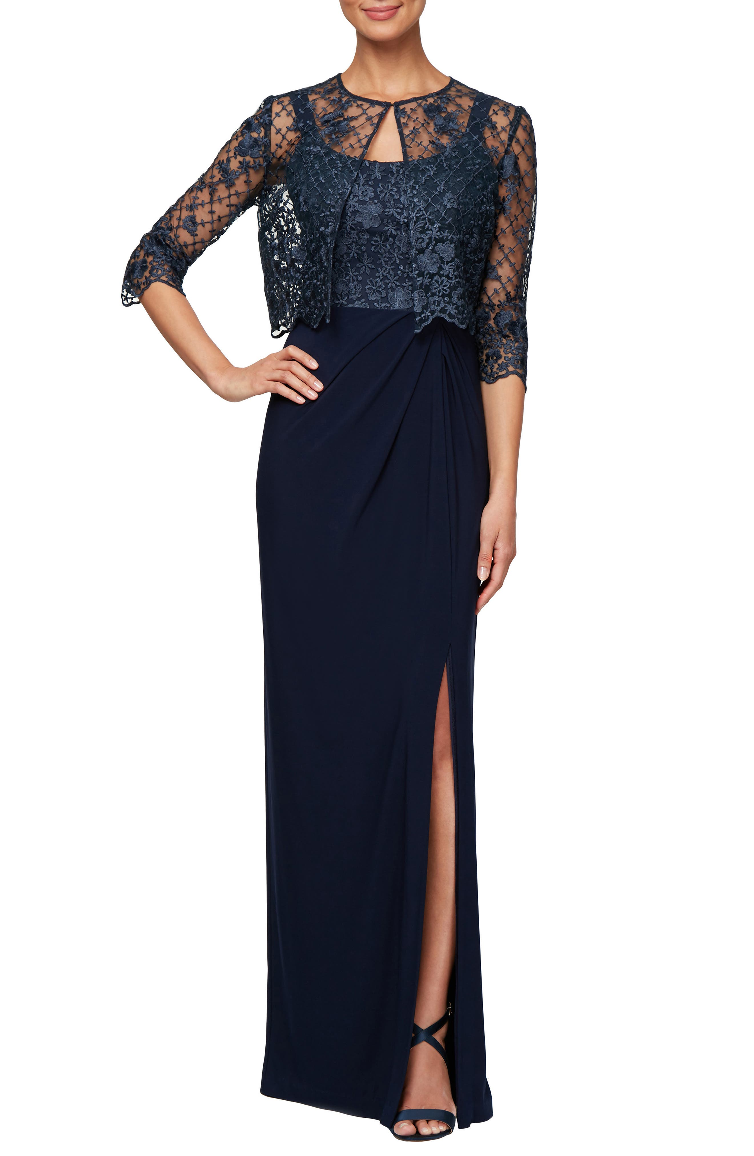 Petite Alex Evenings Sleeveless Evening Dress With Lace Jacket, Blue