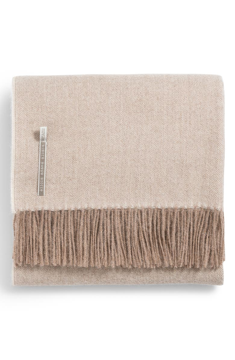 ALICIA ADAMS ALPACA Classic Herringbone Throw Blanket, Main, color, TAUPE