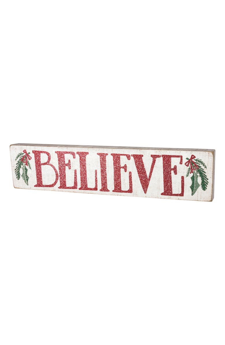 PRIMITIVES BY KATHY Believe Wood Box Sign, Main, color, 100