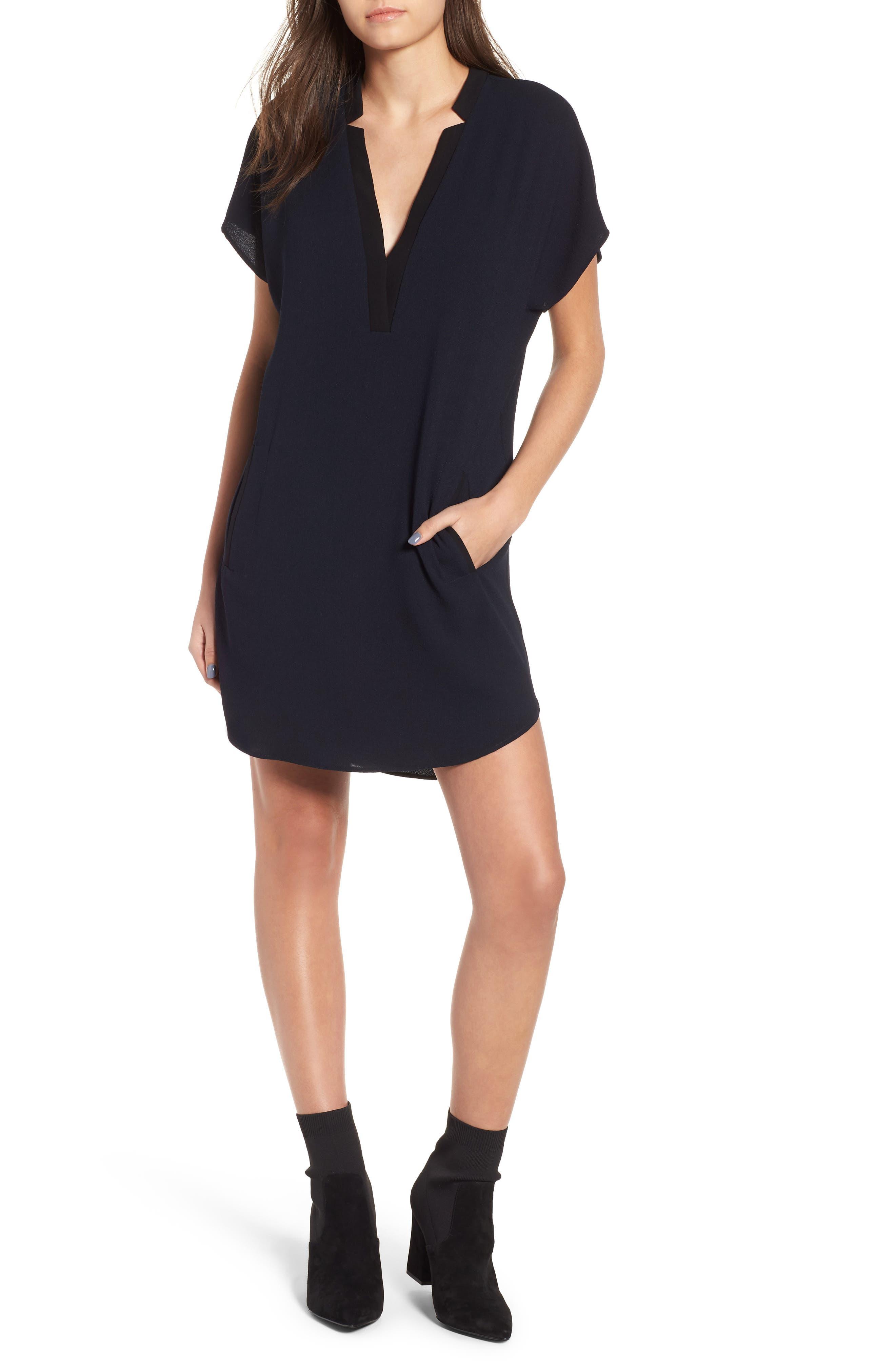 ,                             ASTR V-Neck Crepe Shift Dress,                             Main thumbnail 1, color,                             400