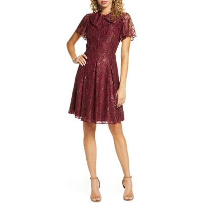 Chelsea28 Metallic Lace Short Sleeve Fit & Flare Dress, Red