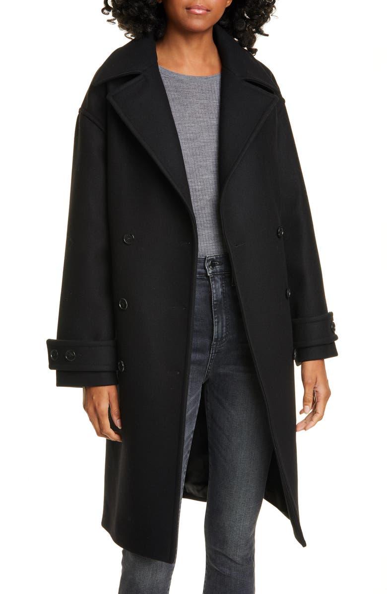 KENZO Wool Blend Coat, Main, color, BLACK