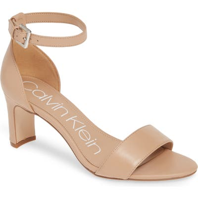 Calvin Klein Carrie Ankle Strap Sandal, Beige