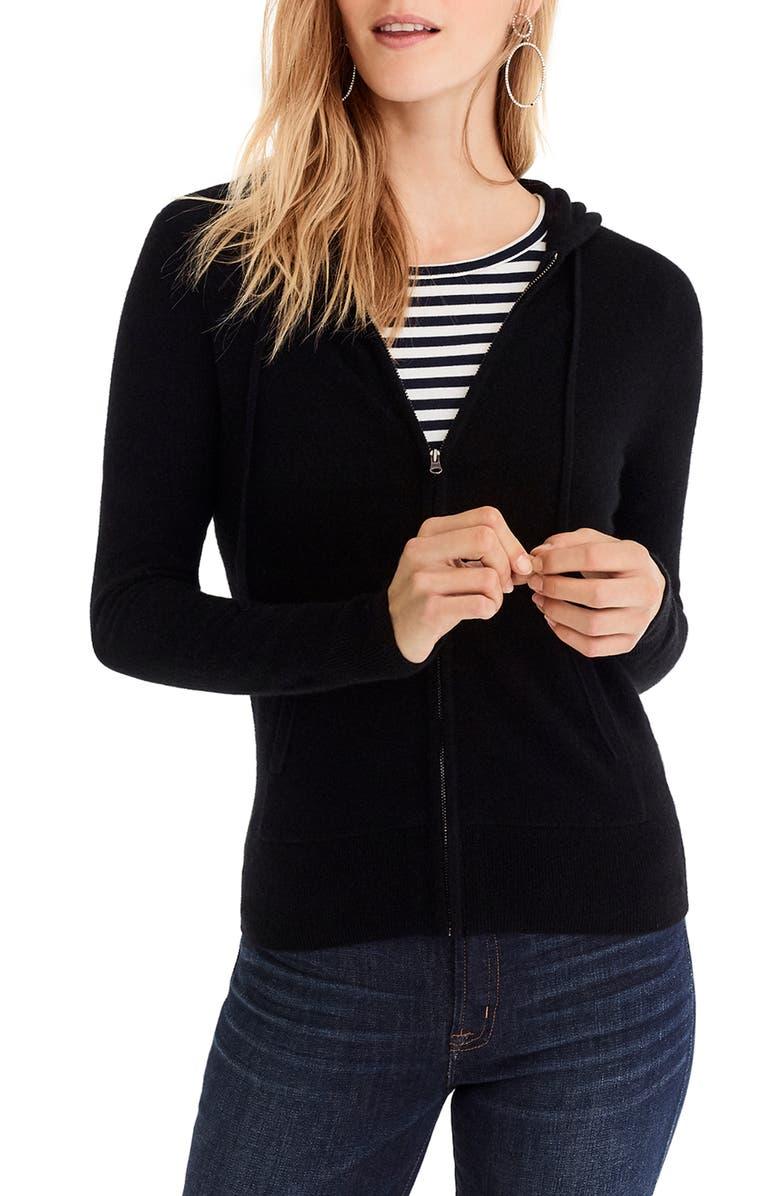 J.CREW Everyday Cashmere Zip Hoodie, Main, color, BLACK