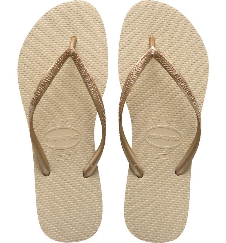 HAVAIANAS 'Slim' Flip Flop, Main, color, SAND/ LIGHT GOLD