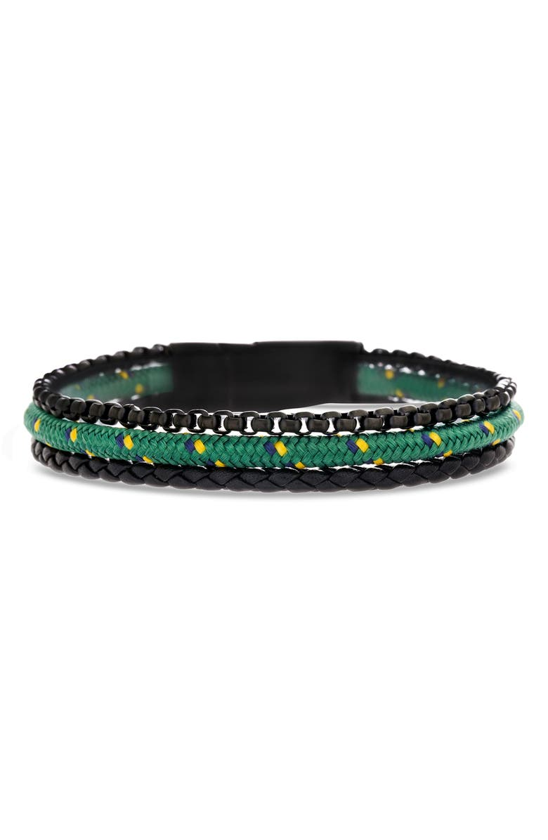 BEN SHERMAN Leather & Cord Bracelet, Main, color, 300
