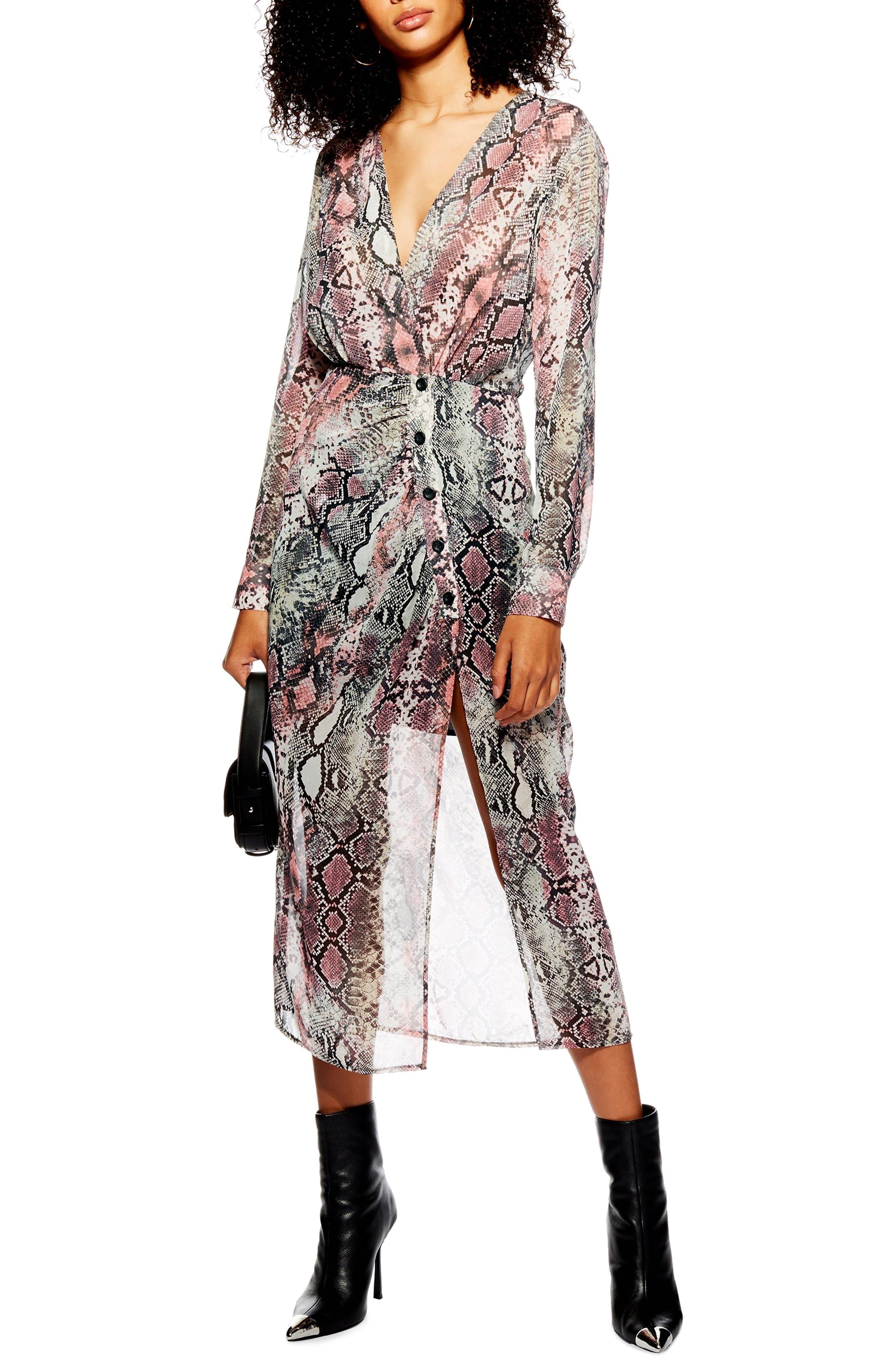 Petite Topshop Snake Print Chiffon Midi Dress, P US (fits like 2-4P) - Pink