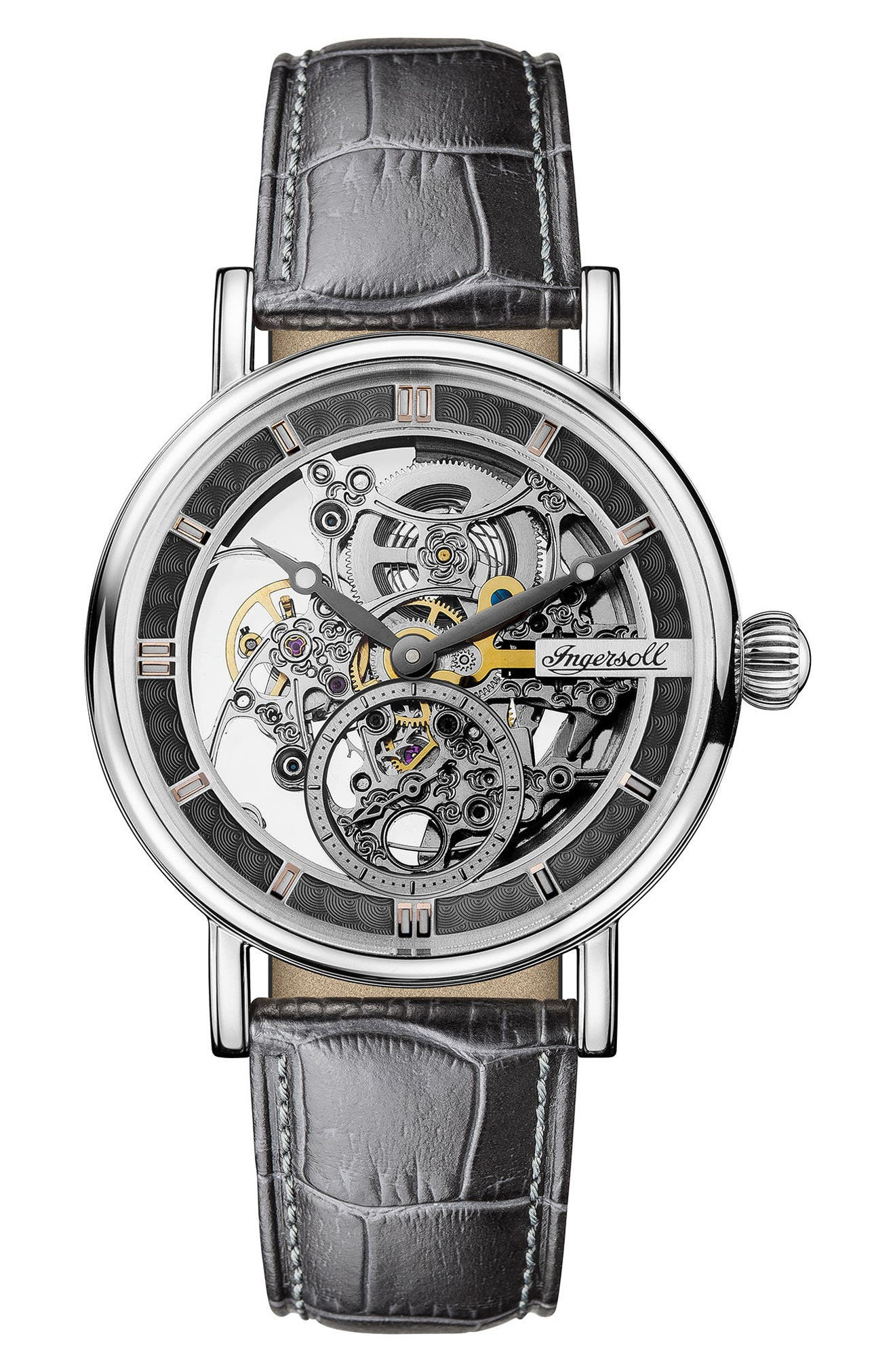Ingersoll Herald Automatic Skeleton Leather Strap Watch, 40mm, Main, color, GREY/ SKELETON/ SILVER