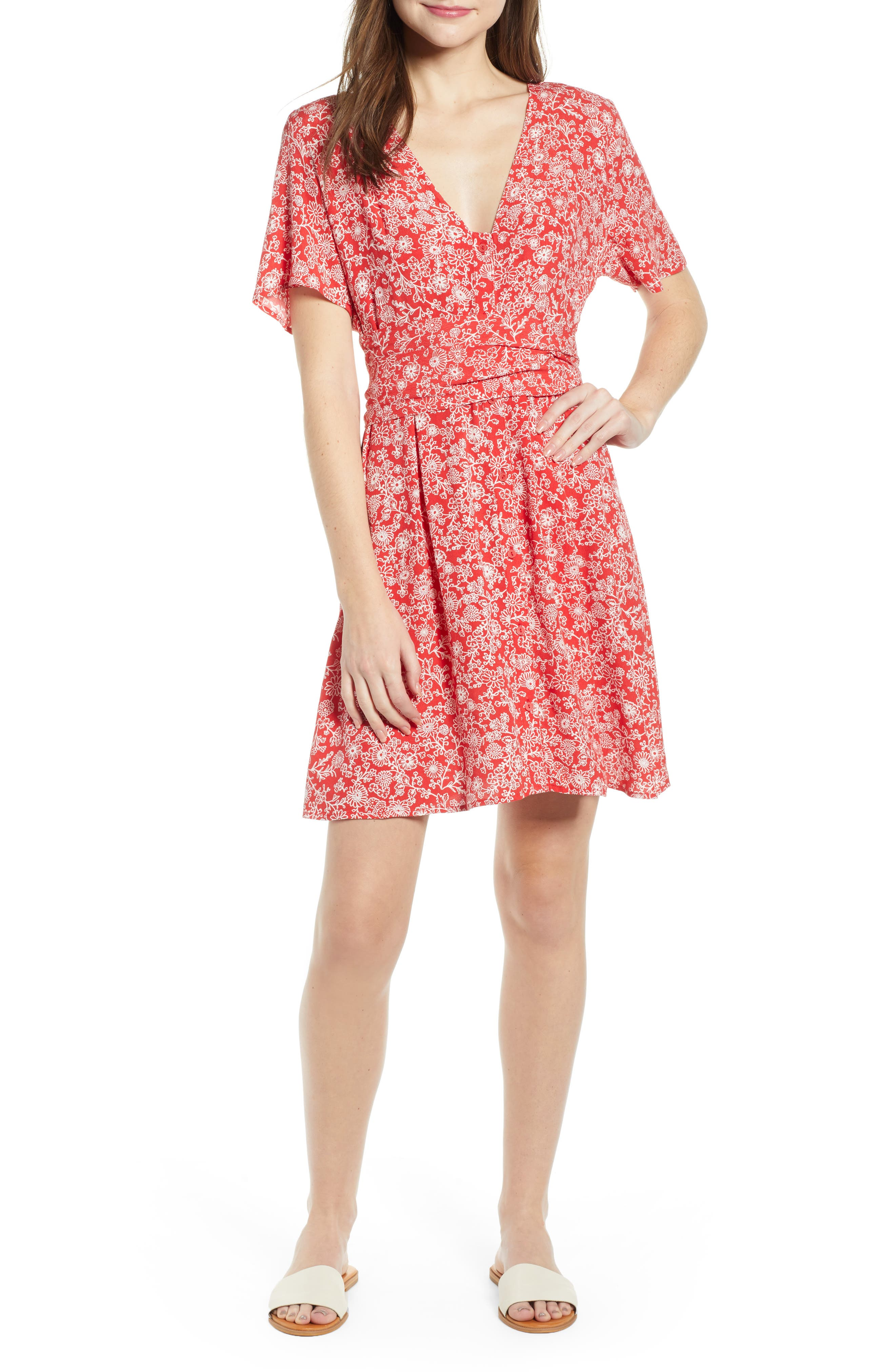 Floral Front Button Minidress, Main, color, RED BLOOM VINED DAISIES