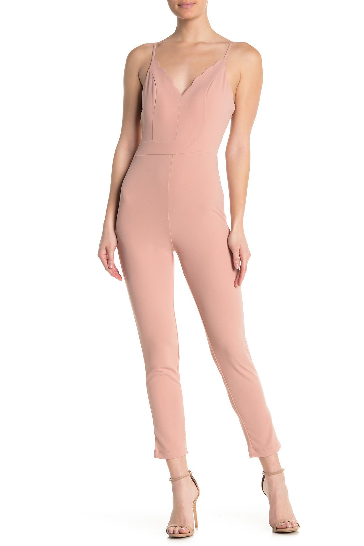Image of MAX & ASH Scalloped V-Neck Sleeveless Jumpsuit