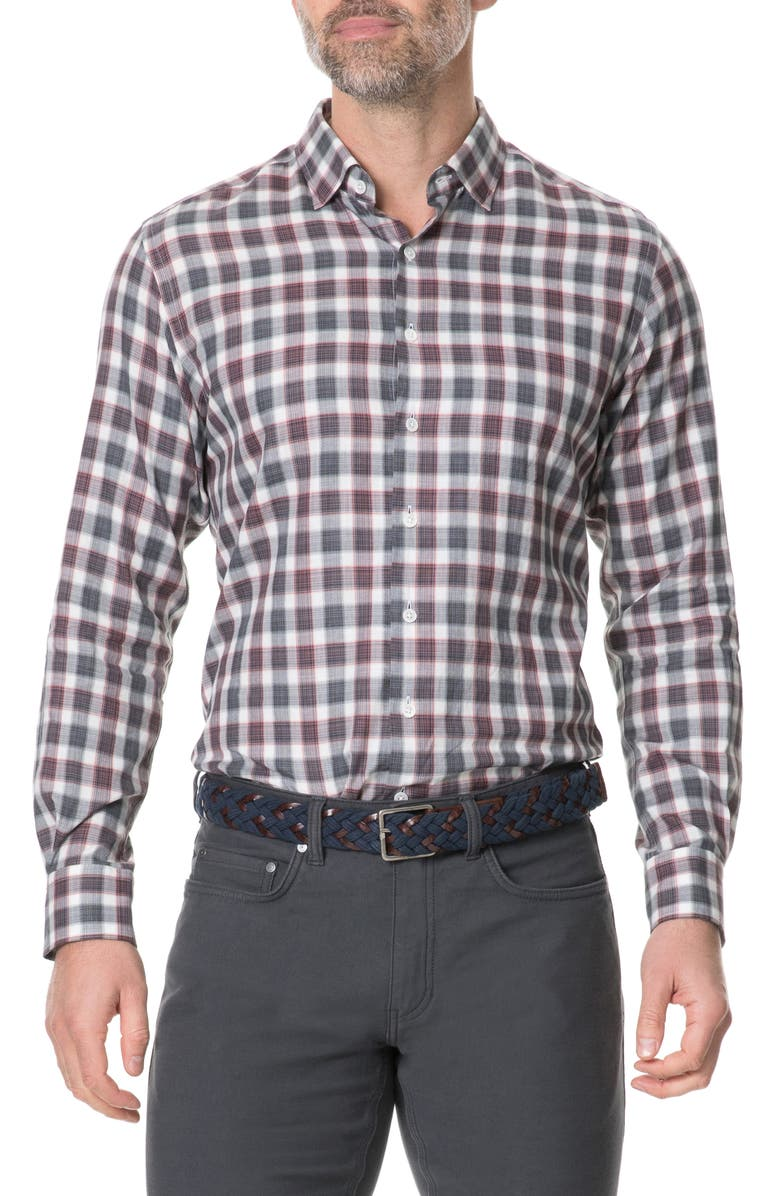 RODD & GUNN Wickham Regular Fit Check Button-Up Sport Shirt, Main, color, GARNET