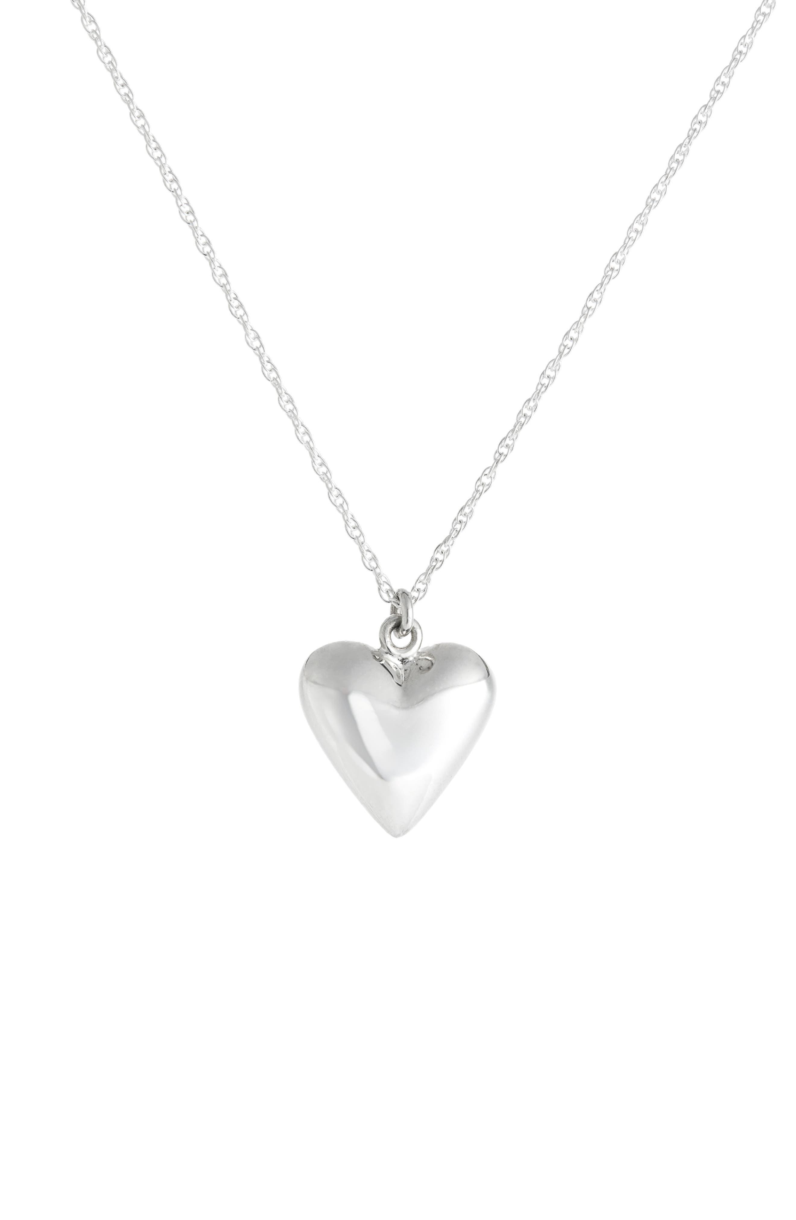 ,                             Petite Heart Pendant Necklace,                             Main thumbnail 1, color,                             STERLING SILVER