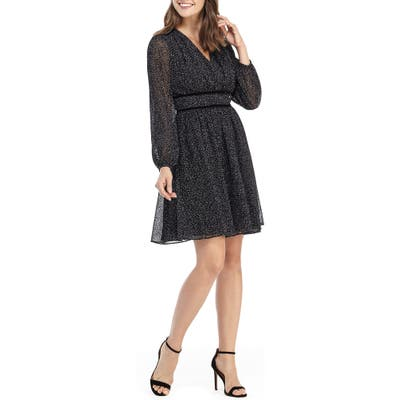 Gal Meets Glam Collection Skylar Flocked Chiffon Long Sleeve Dress, Black