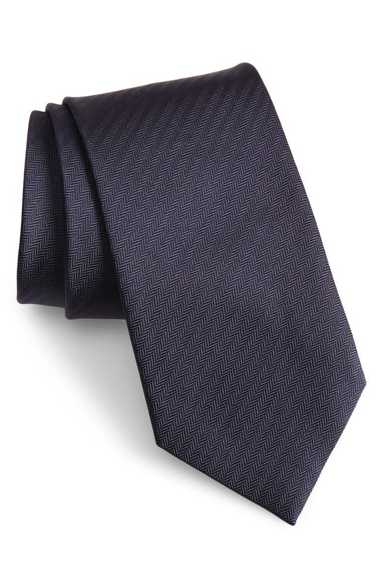 BRIONI Textured Silk Tie, Main, color, NAVY