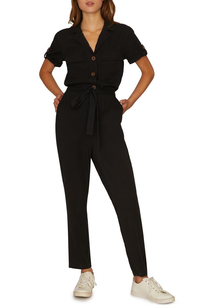 SANCTUARY Sancutary Renewal Tie Waist Jumpsuit, Main, color, 001