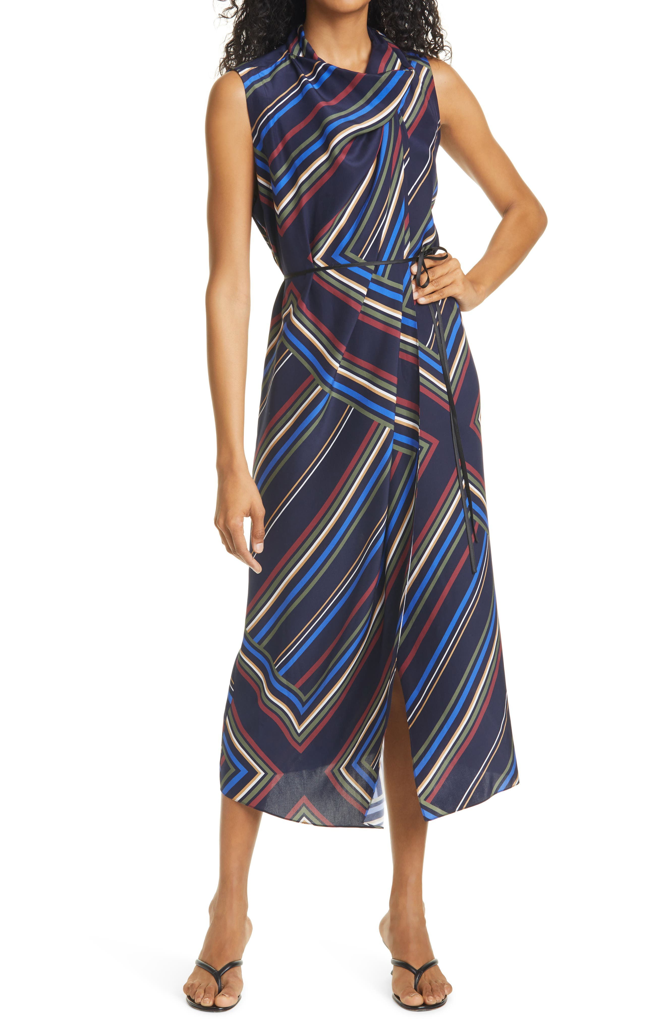 Stripe Cowl Neck Silk Midi Dress