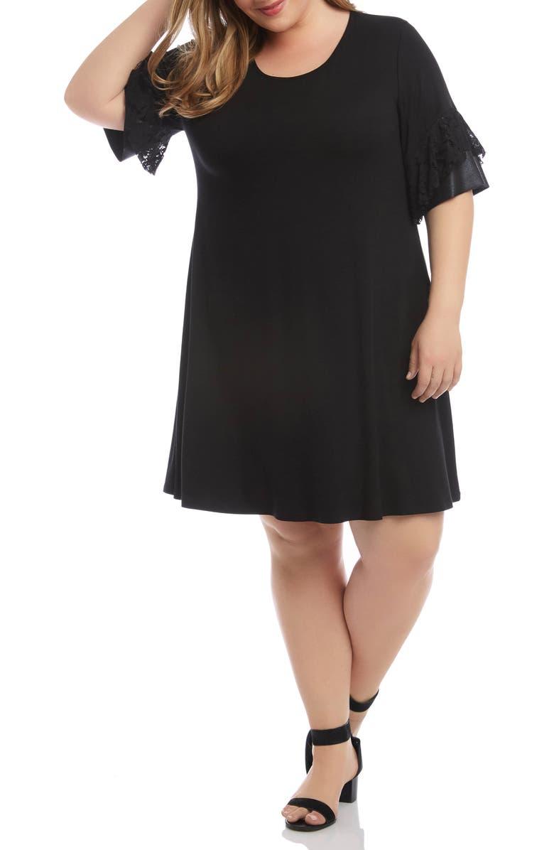 KAREN KANE Contrast Ruffle Sleeve Shift Dress, Main, color, BLACK