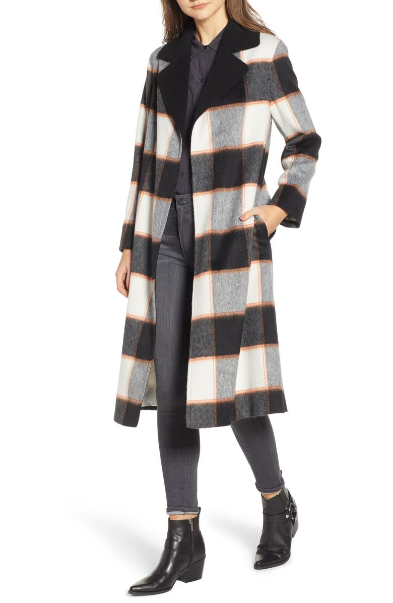 5f787c835efe Helene Berman Ruth Plaid Contrast Collar Coat | Nordstrom