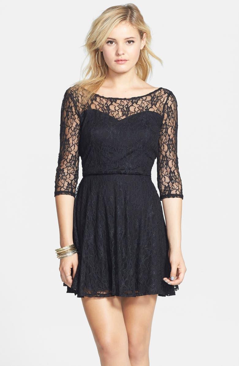 BP. Long Sleeve Lace Skater Dress, Main, color, 001