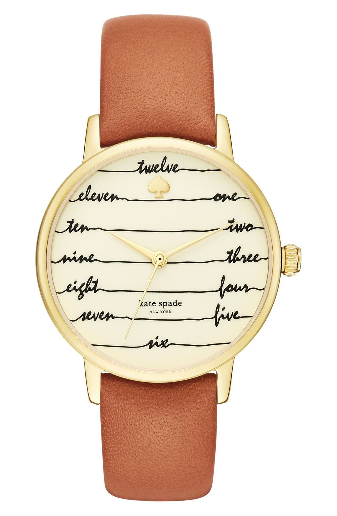,                             'metro - chalkboard' leather strap watch, 34mm,                             Main thumbnail 5, color,                             200