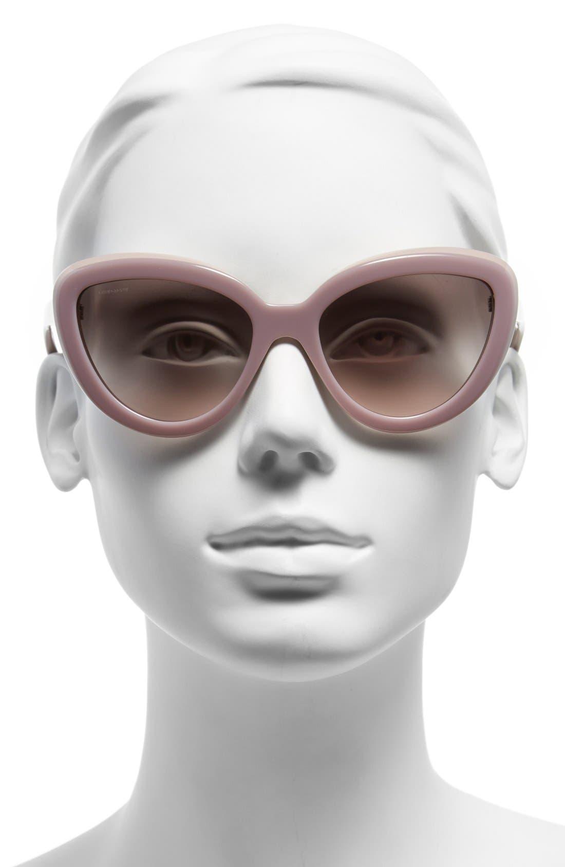 ,                             57mm Cat Eye Sunglasses,                             Alternate thumbnail 6, color,                             600