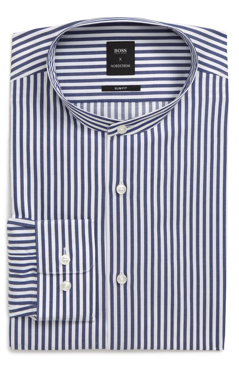 BOSS Slim Fit Stripe Dress Shirt, Main, color, MEDIUM BLUE