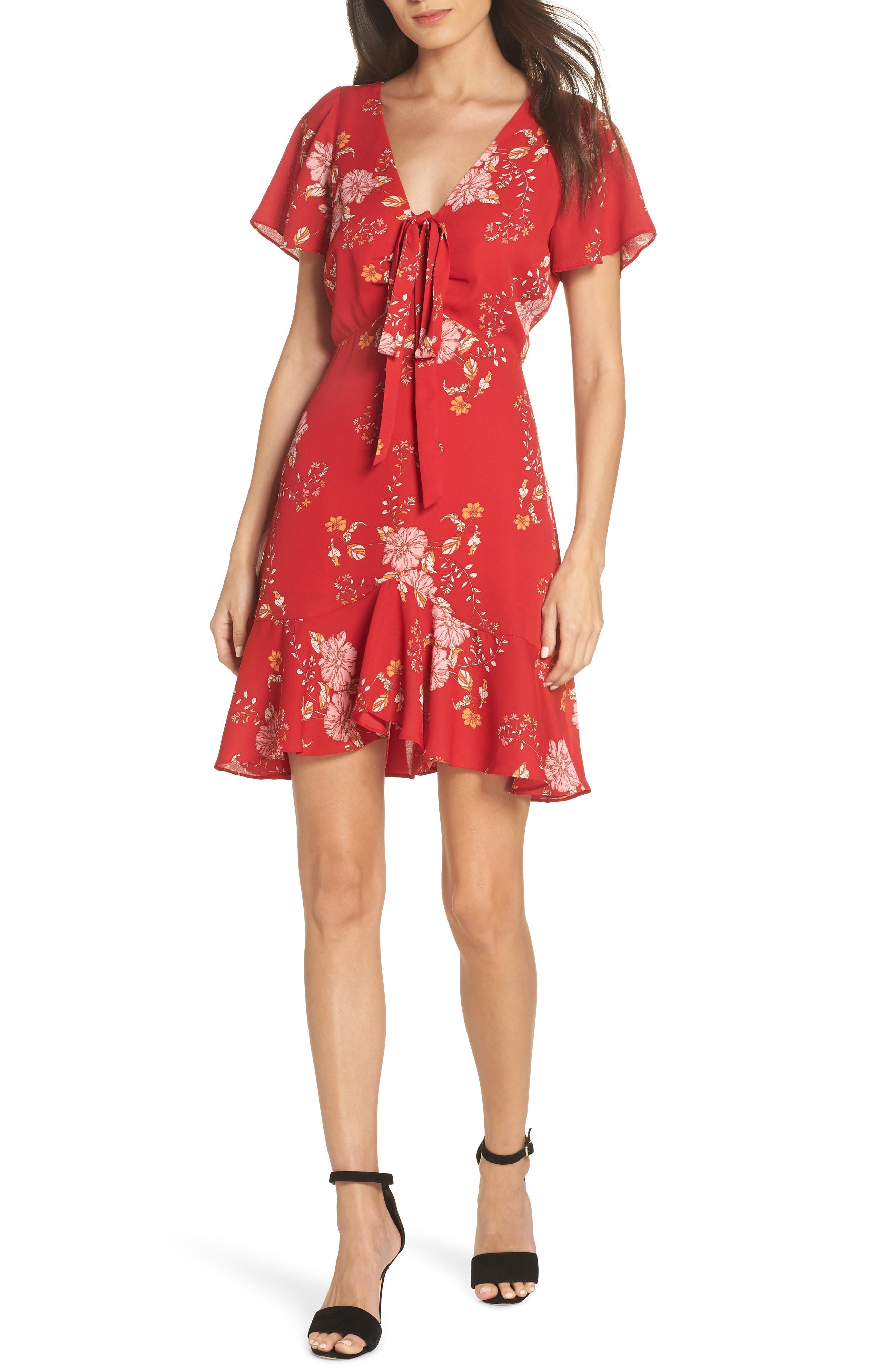 Bb Dakota Hyper Bloom Printed Minidress, Red