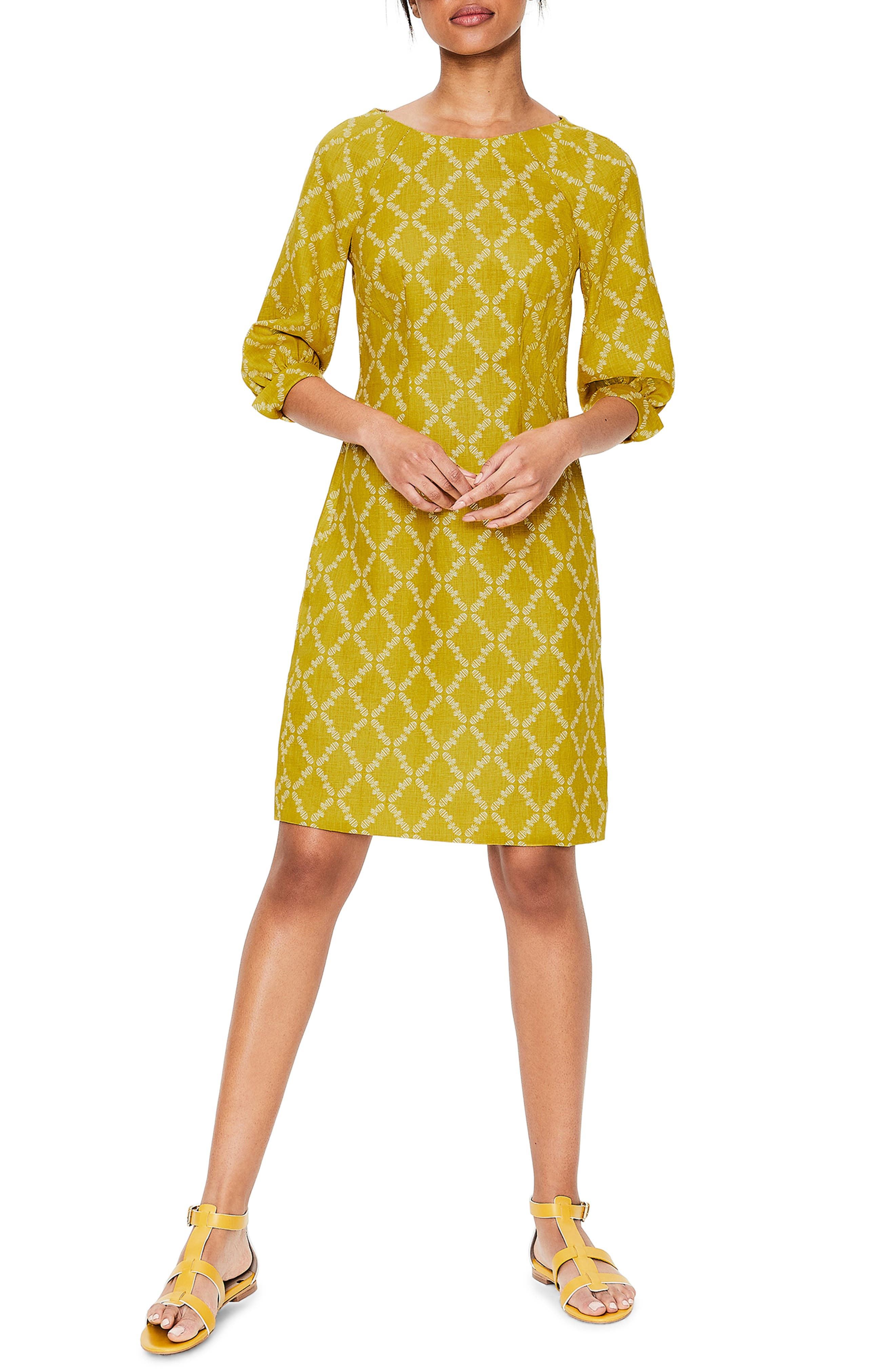 women's boden kate linen dress, size 8 - yellow