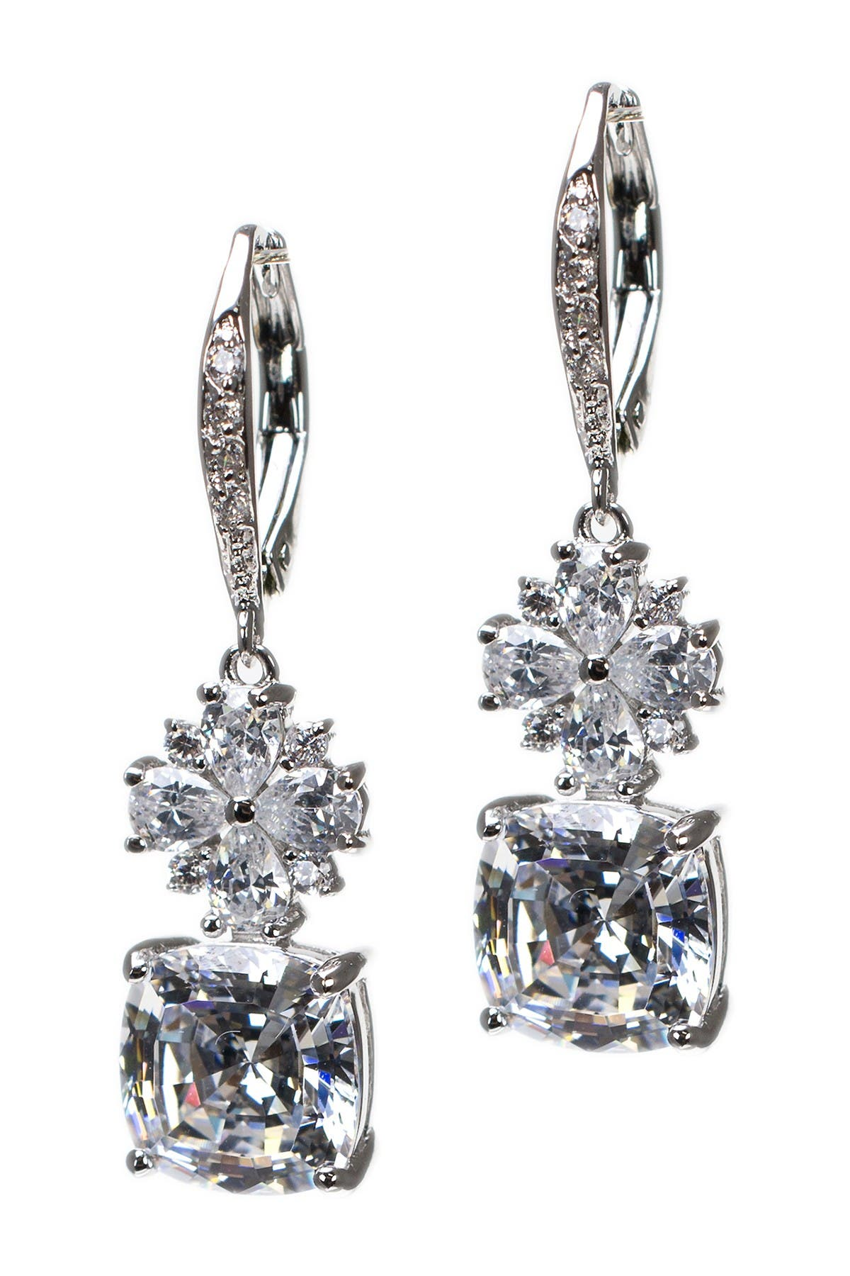 Image of CZ By Kenneth Jay Lane Accented Cushion Cut CZ Radiant Earrings