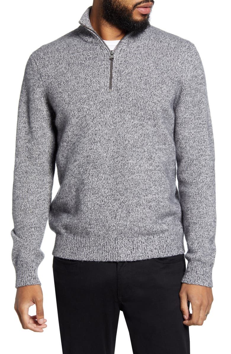 VINCE Quarter Zip Marled Wool & Cashmere Sweater, Main, color, HEATHER SILVER GREY