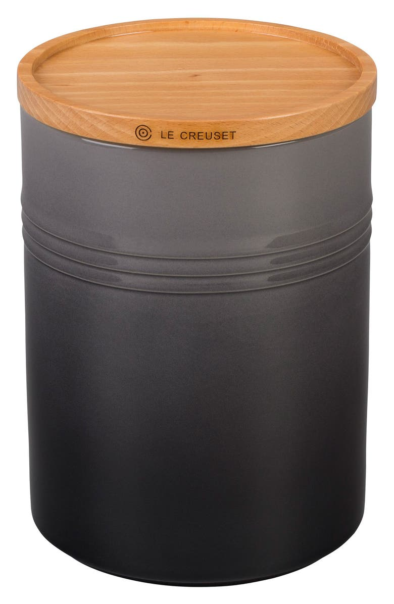 LE CREUSET Glazed Stoneware 2 1/2 Quart Storage Canister with Wooden Lid, Main, color, OYSTER