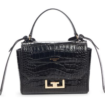 Givenchy Mini Eden Croc Embossed Calfskin Top Handle Bag - Black