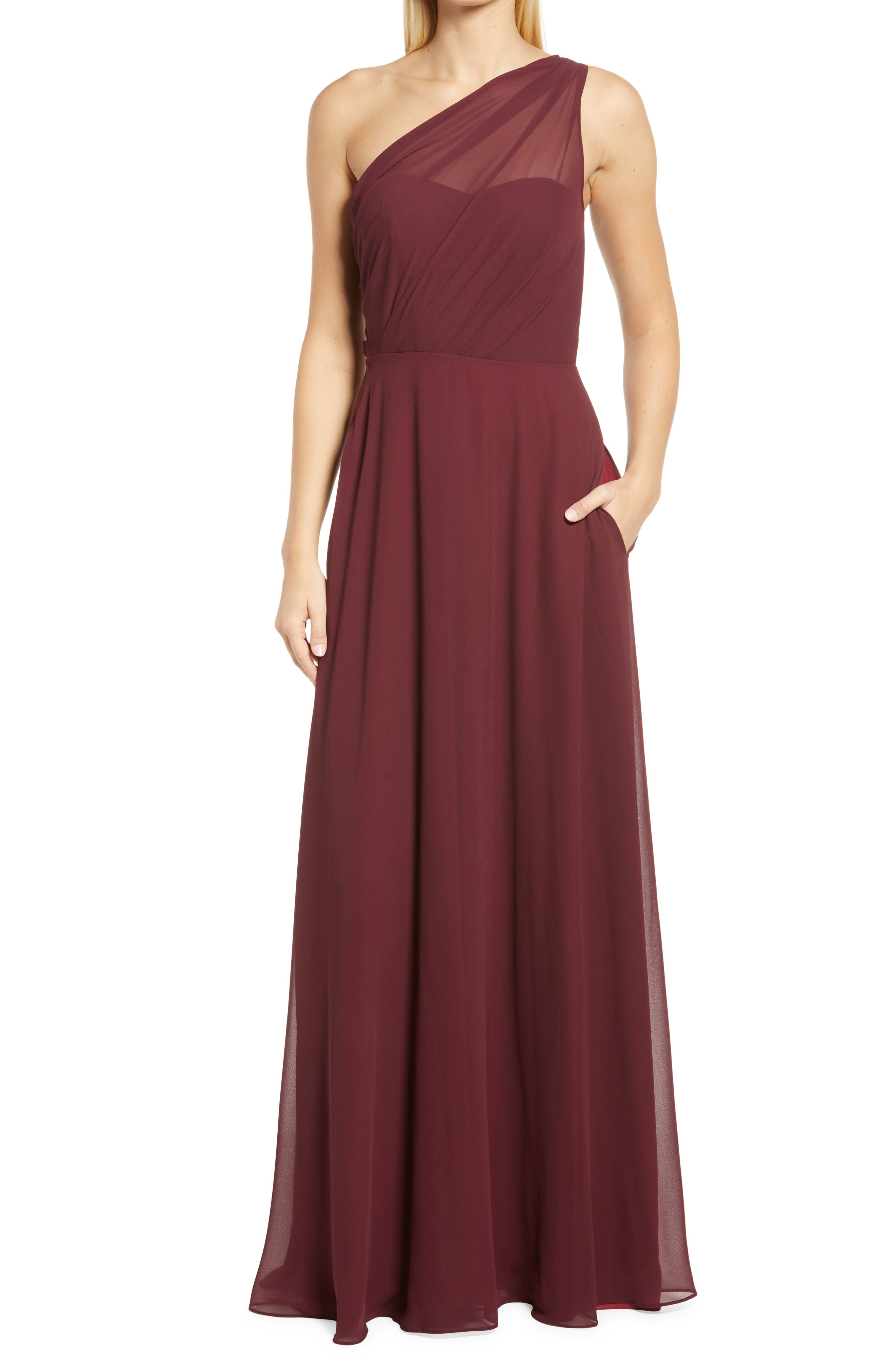 Kira One-Shoulder Evening Gown